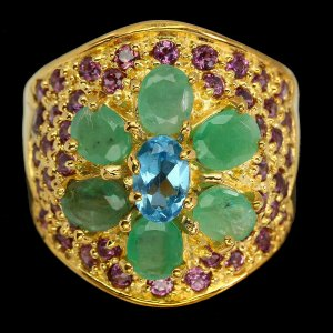 Ovaler Schweizer Blautopas 6x4mm Smaragd Rhodolith Granat 925 Sterling Silber Ring 57