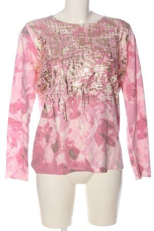 Ovanti Feinstrickpullover pink-goldfarben abstraktes Muster Casual-Look