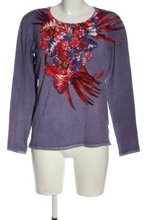 Ovanti Feinstrickpullover lila-rot Blumenmuster Casual-Look