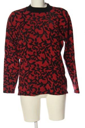 Ovanti Rollkragenpullover rot-schwarz grafisches Muster Casual-Look