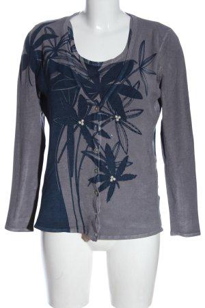 Ovanti Knitted Twin Set light grey flower pattern casual look