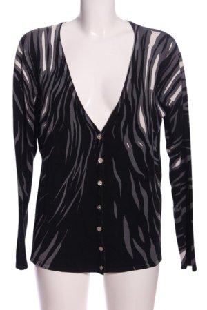 Ovanti V-Ausschnitt-Pullover schwarz-hellgrau Motivdruck Casual-Look