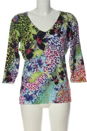 Ovanti V-Ausschnitt-Pullover abstraktes Muster Casual-Look