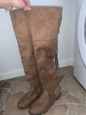 JustFab Botas sobre la rodilla marrón claro