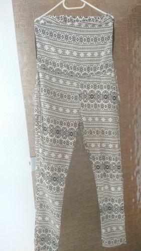 Spodnie sztruksowe czarny-jasnobeżowy Poliester