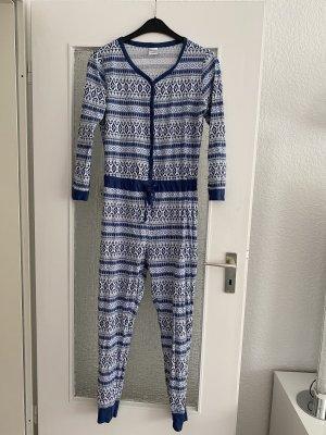 overall / einteiler pyjama hausanzug in blau weiß