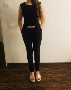 Jumpsuit black-gold-colored
