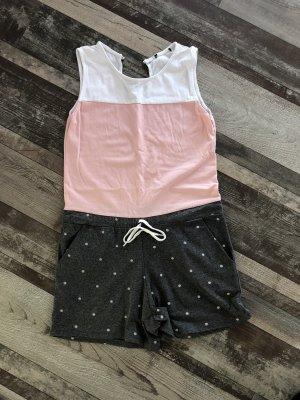 Pigiama intero grigio chiaro-rosa pallido