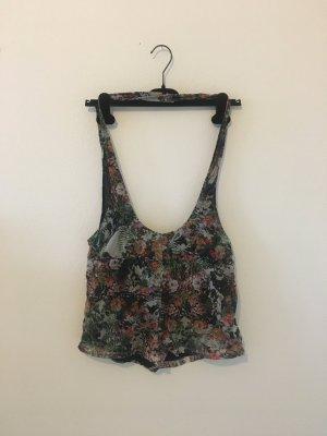 Overall Jumpsuit Träger kurz Hose Shorts Hot Pants gefüttert elastisch Blumen floral gemustert Sommer bequem