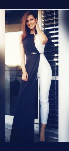 Sukienka płaszczowa biały-czarny