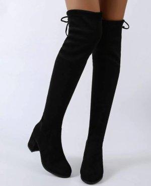 Buty nad kolano czarny-rudy