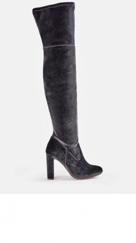 Overknee Stiefel Anthrazit Samt Grau High Heels 40