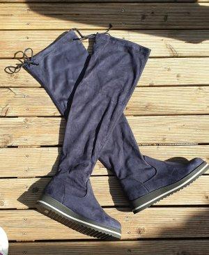 Buty nad kolano niebieski-ciemnoniebieski