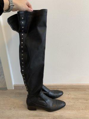 Zara Kniehoge laarzen zwart-zilver