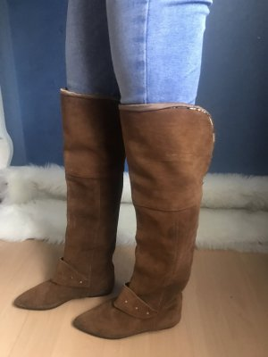 Overknee Stiefel Echt Leder Cognac Braun Vintage flach