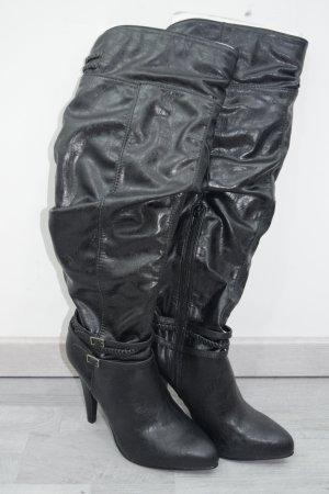 Overknee Stiefel mit Reißverschluss & Riemchen Schnallen Zierde