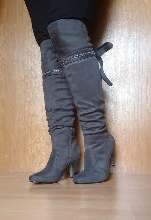 Botas sobre la rodilla color plata-gris