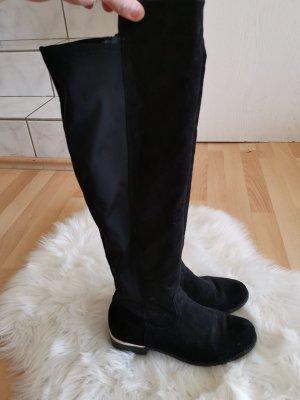 Overknee Stiefel, Schwarze Stiefel, Elastische Stiefel,, blogger Stiefel