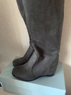 Overknee Stiefel Velours Imitat grau silber
