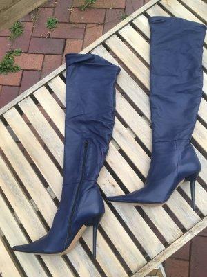 Biondini Botas sobre la rodilla azul oscuro Cuero