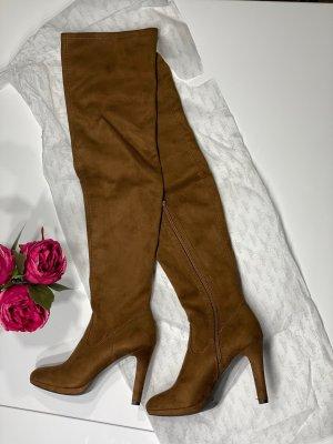 Catwalk Buty nad kolano jasnobrązowy-brązowy Tkanina z mieszanych włókien
