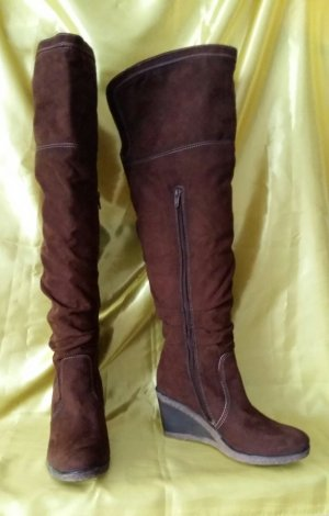Graceland Overknees brown red