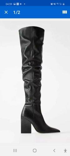 Zara Woman Kniehoge laarzen zwart
