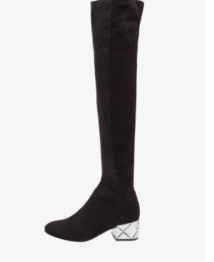 Aldo Kniehoge laarzen zwart-zilver