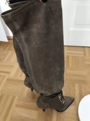 Overknees green grey leather