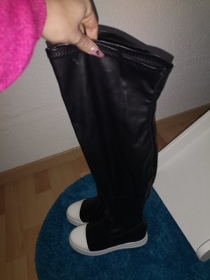 Kniehoge laarzen wit-zwart