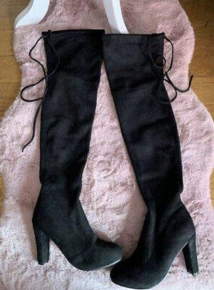 aus Italien Kniehoge laarzen zwart Leer