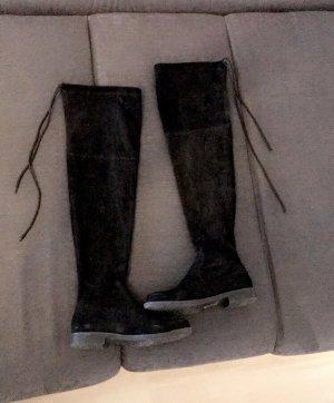 Buty nad kolano czarny Aksamit