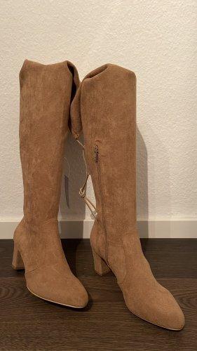Lascana Buty nad kolano jasnobrązowy Tkanina z mieszanych włókien