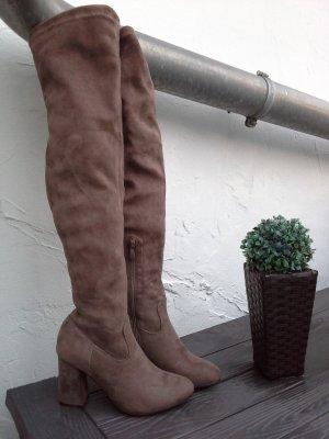 Kniehoge laarzen brons-bruin