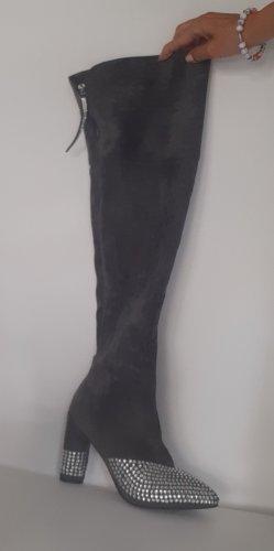Overknees Stiefel rauhleder mit Strasssteinen