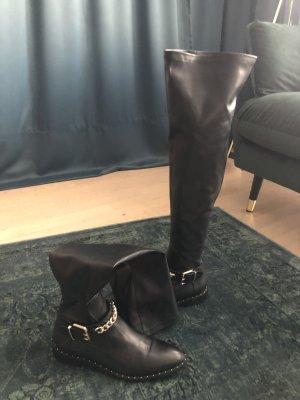 Zara Stivale cuissard nero-oro Finta pelle