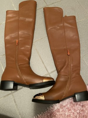 Overknees gold-colored-cognac-coloured