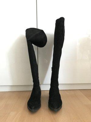Homers Botas sobre la rodilla negro Cuero