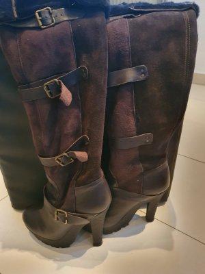 Topshop Botas sobre la rodilla marrón oscuro