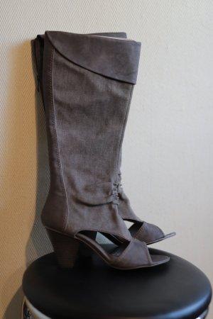 Buty nad kolano zielono-szary Tkanina z mieszanych włókien
