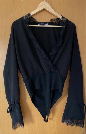Overlap lace detail Bodysuit