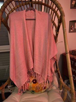 Bonita Poncho en tricot saumon-rouge clair