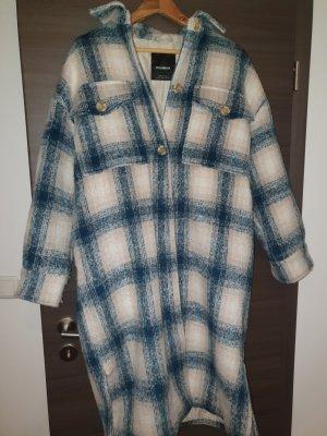 Pull & Bear Veste longue blanc cassé-bleu pétrole