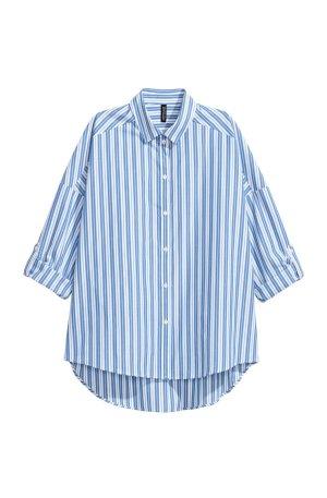 Oversize Bluse Blau-Weiß gestreift 38