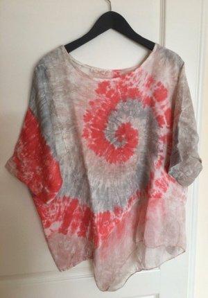 Oversize-Bluse im Batiklook Leinen mit Seide / one size