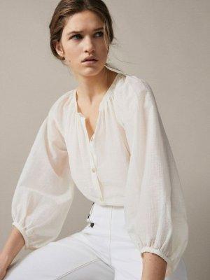 Massimo Dutti Oversized Blouse natural white-cream cotton