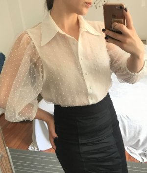 Oversize Bluse Zara Gr. M 38 weiß gepunktet getupft XXL Ärmel Shirt