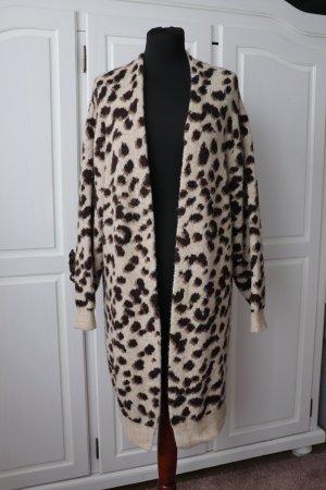 Oversize Cardigan Strickmantel Strickjacke von H&M Größe M 36 38 40 Animal Print Leoparden Muster