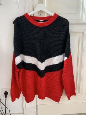 Pimkie Knitted Sweater red-dark blue