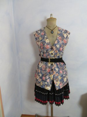 Vintage Tradycyjna kamizelka Wielokolorowy Tkanina z mieszanych włókien